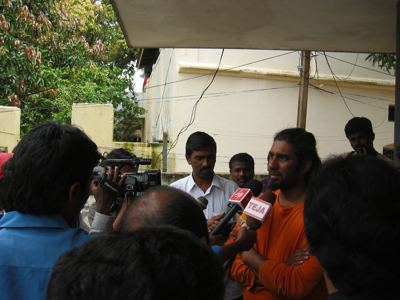 talking to local media