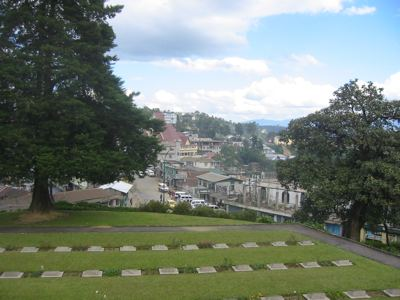 kohima town from the war cemetery